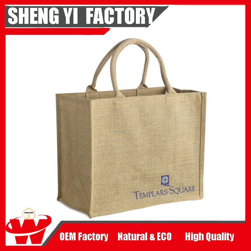 Promotion Recycle Shopping Bag Folding Burlap Tote Bag Custom Jute Shopping Bag