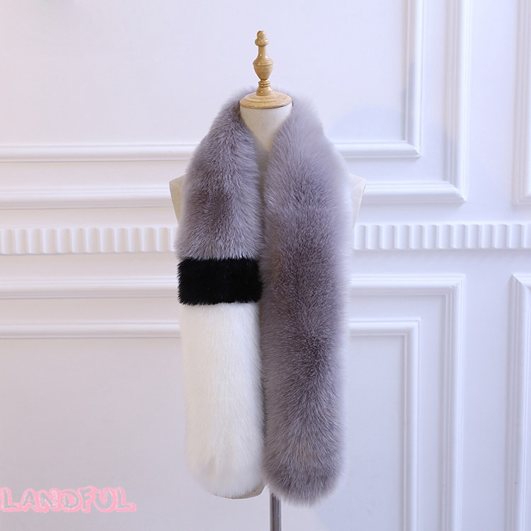 Wholesale Women Winter Lady Contrast Color Faux Fox Fur Long Scarf 1.5 M Collar Thick Shawl