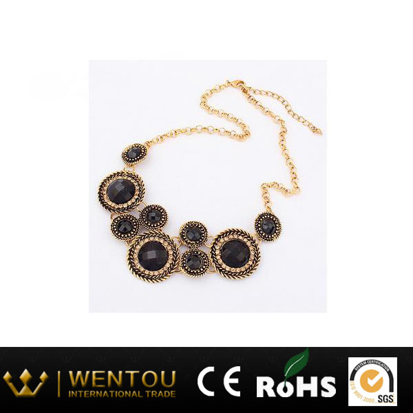 New Fashion Silver -tone Necklace with Black Resin Stones Hampton Mademoiselle Necklace