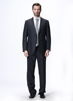 2015 On sale 100% woolen men's slim business suit with thin white stripe