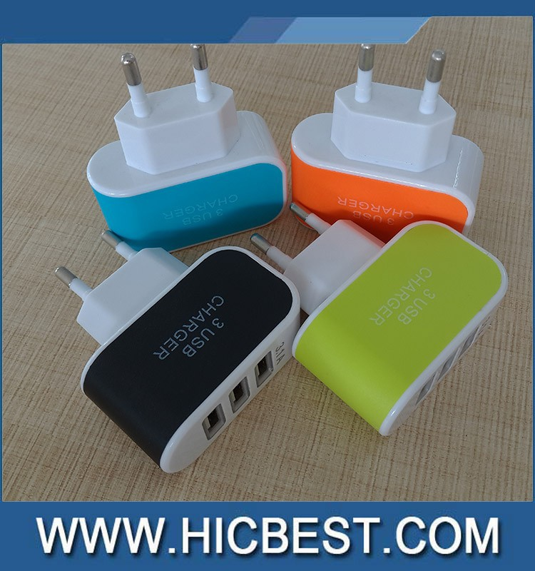 China supplier 5v 2A eu plug travel charger,3 port usb wall charger for htc