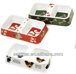 Pet Dog double bowl dish feeder square shape with pictures