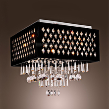 the Middle East Russia Simple luxury ceiling lamp black iron art square Hanging crystal led ceiling light 1109439