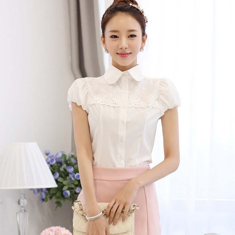 WA2614 Korean women short-sleeved shirt cheap white chiffon shirt lace TOPS