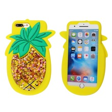 Soft Feeling Silicone Cute Cases Stress Reducer Liquid Quicksand Pineapple Phone Case For Kids Teens Girls Boys