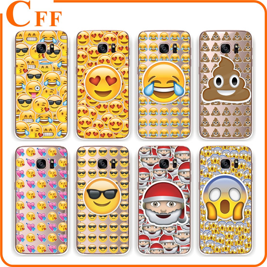 Ultra Thin Funny Transparent Emoji Phone Case for Samsung Galaxy S4 S5 S6 S6edge S7Edge Note4 Note5 Emoji Soft TPU Back Cover