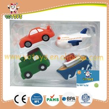 EN71 passed rubber bath toy vehicle rubber toy set, rubber car plane train boat toy