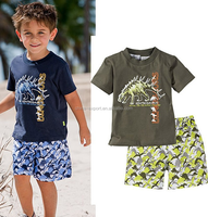 JYT-063 2015 wholesale fashion summer hot sale new european kids Dinosaur printed T-shirt+Beach pants boys holiday clothes suits