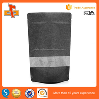 New product launch in china stand up black zip lock bag with transparent window ZBW-LSUO002