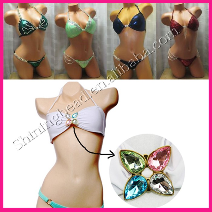 19cm long Gun Plating Rhinestone Bikini Connectors Buckle Stunning Look Metal Chain For Swimming Wear Bikini Decoration