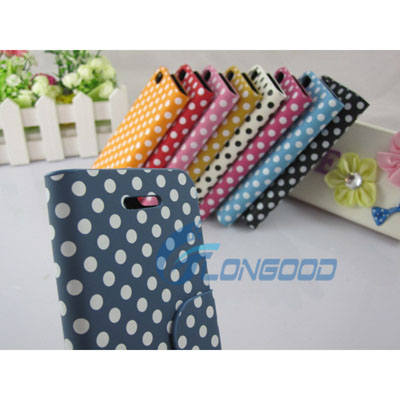 Flip Stand Polka Dot PU Leather Folio Book Case Cover For iPhone5 (IP5G-031)