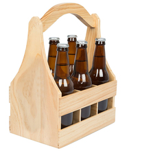 natrural wood wine beer caddy with handle