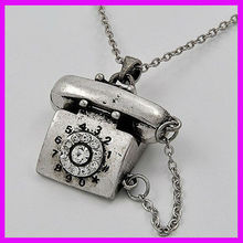 fashion shiny crystal silver necklace cell phone shape famous women jewelry designer