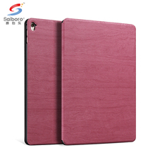 New arrival pc leather wooden grain for ipad mini 1 2 3 4 back cover