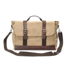 Hot New Product Khaki Canvas Leather RetrStyle Laptop Messenger Bag For Men