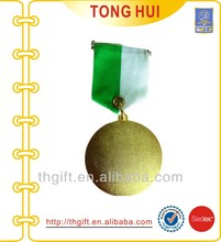 Engraved metal coin medal with ribbon hanger
