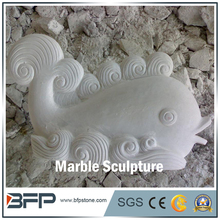 City swimming pool Landscape Decorative marble Stone Fish Sculpture