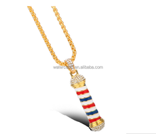 New Fashion Barber Shop Pole 3D Barber Pole Chain Pendant Necklace Hip Hop Barber Hairdresser Gothic Necklace Jewelry