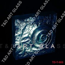 Textured decorative fused glass brick