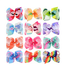 Boutique 6 inch Rainbow Multicolor Teen Kids Toddler Baby Girl Grosgrain Ribbon Hair Bow Hair Clip Alligator