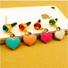 Pretty heart shape 3.5mm cell phone dust plug metal pendant phone charms for women jewelry
