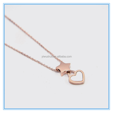High quality geometric pendant necklace 18K rose gold stainless steel necklace with heart and star pendants