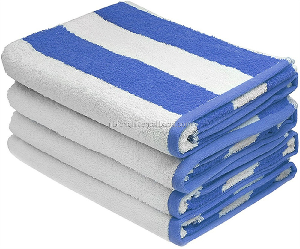 Blue and White Stripe Large Beach Towel, Pool Towel, in Cabana Stripe