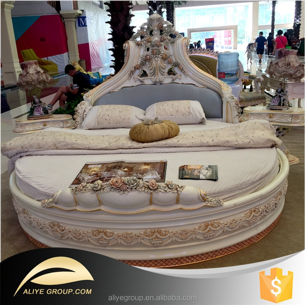 AS2201-luxury furniture French style solid wood carved round <strong>bed</strong> with best good quality and price