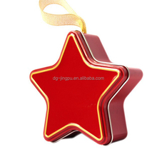 Promotional cheap customized printing Xmas gift star tin box with ribbon