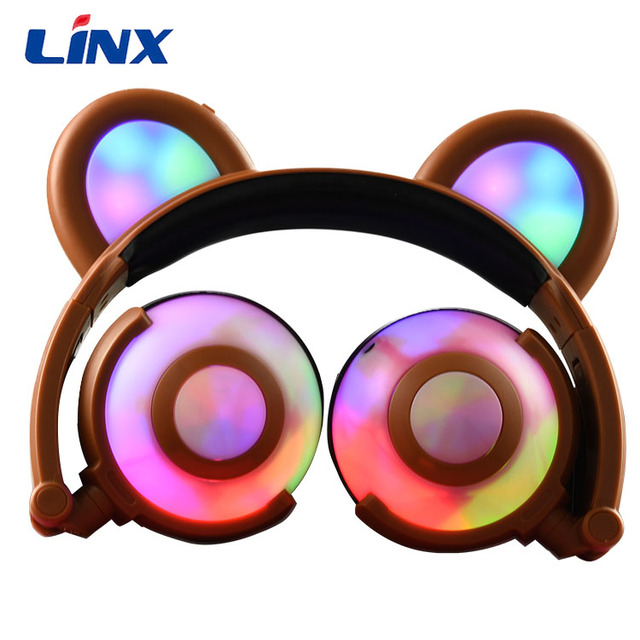 2017 new fashion design panda ear muff led light earphones headphones