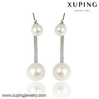 E-35-xuping fashion jewelry silver design double pearl earrings