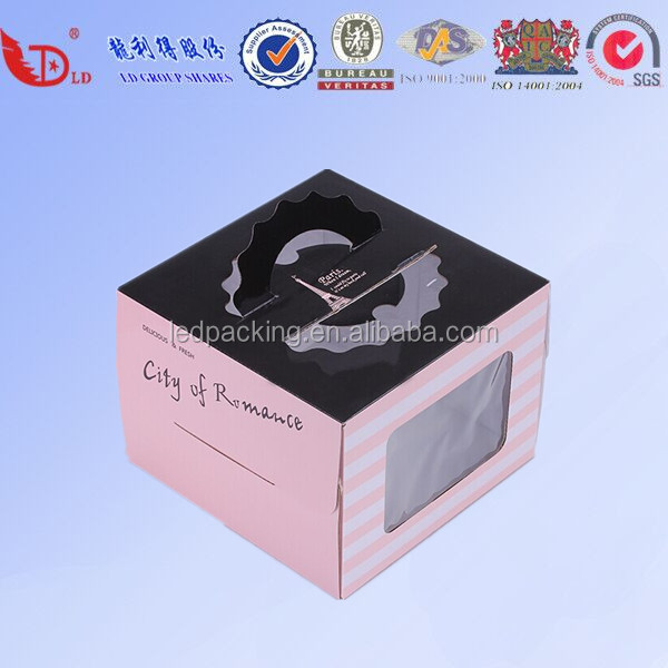 2016 hot sale paper cake box,cake box with handle,cake box packages