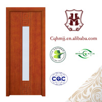 MDF and solid wood toilet door with glass