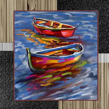 Wholesale abstract boat decorative oil painting on canvas