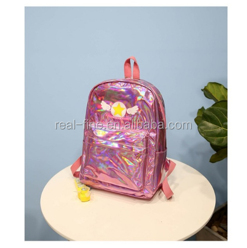 Hologram Laser Backpack For Girls Teenage Women Shoulder Bag 2018 Rucksack Silver Leather Schoolbag Travel Bagpack Star