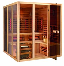 Hot dry steam sauna room combined with red glass heater
