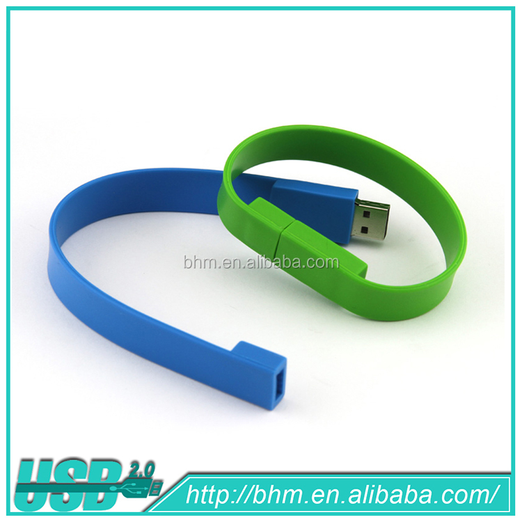 Top quality wristband usb flash memory drive, blacelet usb disk