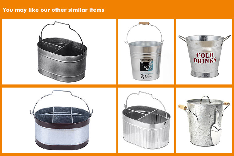 Galvanized metal large round drinks coolers with bottle opener