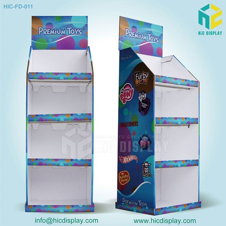 Custom Printing paper material tire display stand for toy display,plastic toy display shelf