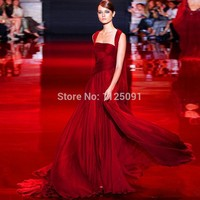 MOON BUNNY 2016 Pleated Formal Party Gowns Flowing Chiffon Long Prom Gowns Burgundy Wine Celebrity Evening Dresses Custom Made W