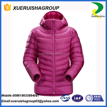 High quality fashion windproof plain black nylon cheap down feather custom winter jacket women