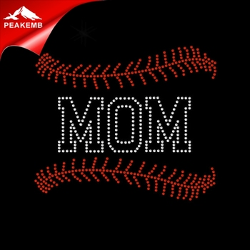 Popular Design Rhinestone Gold Baseball Mom Hotfix Transfer
