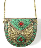 Maharani Brass Metal Handcrafted Clutch with intricate design