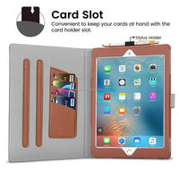 PU leather Smart Stand Case Cover with Card Slots and Stylus Holder for iPad 9.7 2017