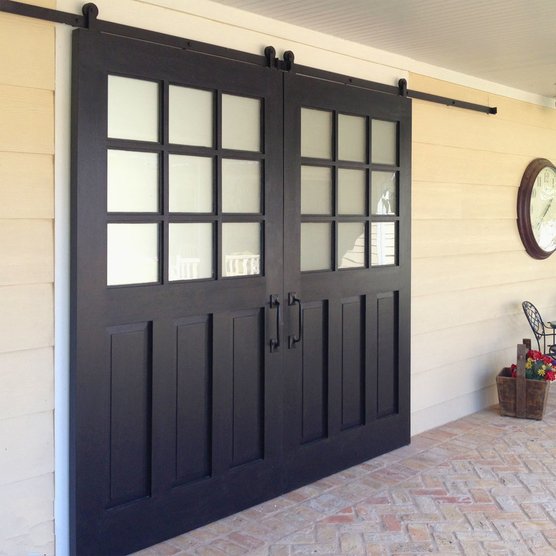Exterior sliding barn door patio door with window glass for Exterior multi track sliding doors