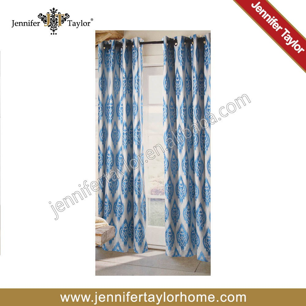 classic design american style Turquoise Blue Geometric Jacquard home furnishing curtain