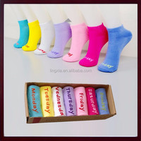 Creative Novelty Daily Socks 7 Days Week Low Cut Socks For Lady, Days of the Week Ankle Socks For Girls