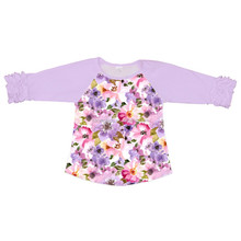Boutique Child Cotton T Shirts Wholesale Flower Printing Tops for Little Girl