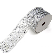 2015 Hot Sale Silver Diamond Mesh Stretch Ribbon Wholesale