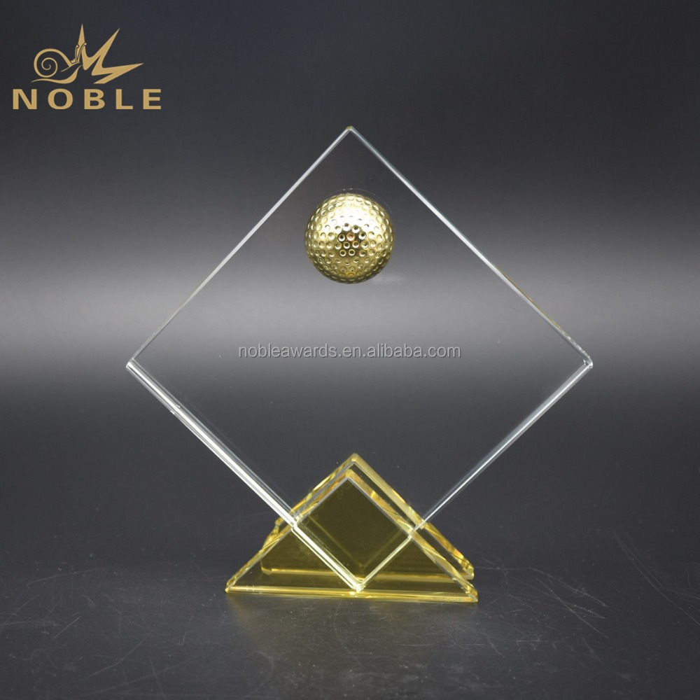 Noble Cheap 3d Laser Engraved Golf Crystal Trophy